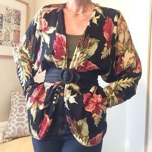 🥀 vintage 90s floral crinkle kimono pocket coat